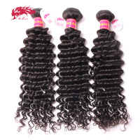Ali Queen Hair Products Brazilian Virgin Deep Wave Curly Hair 3Pcs Lot Virgin Human Hair Weave