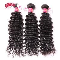 Ali Queen Hair Products Brazilian Virgin Deep Wave Curly Hair 3Pcs Lot Virgin Human Hair Weave