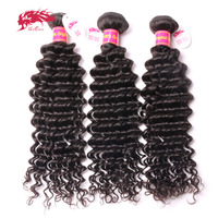 Ali Queen Hair Products Brazilian Virgin Deep Wave Curly Hair 3Pcs/Lot Virgin Human Hair Weave Bundles For Salon Free Shipping