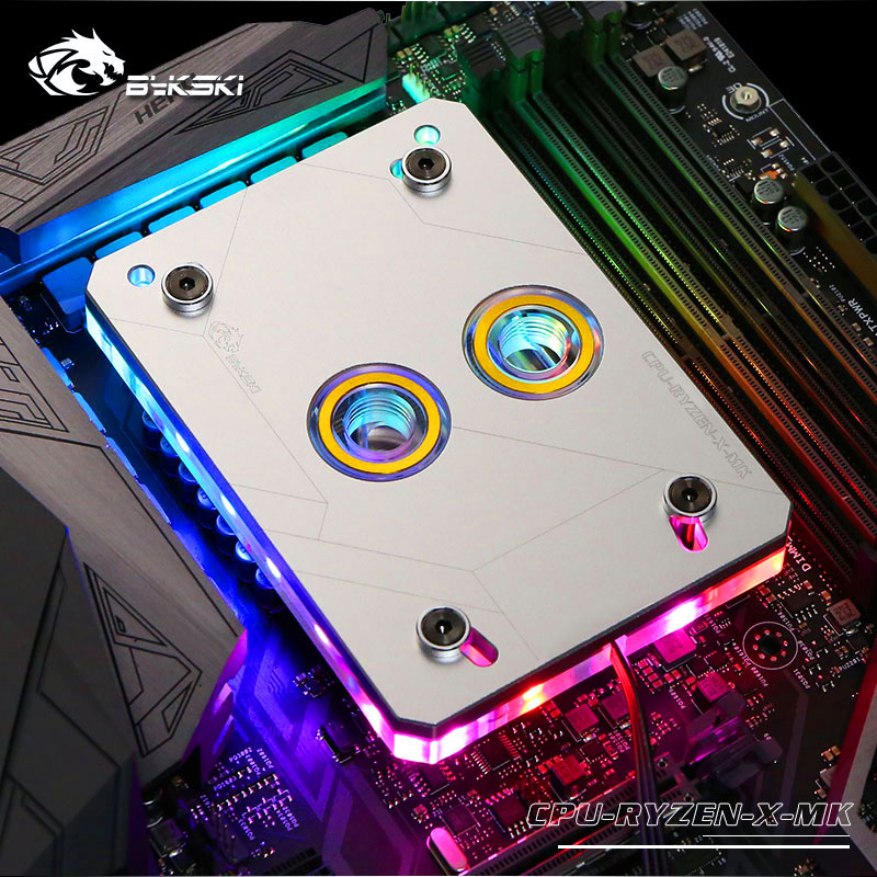Bykski CPU-RYZEN-X-MK RBW RGB Led CPU Water Cooling Block Silver for AMD AM2 AM3 AM4 barrow ltyk3aq 04 rgb cpu water cooling block for amd am2 am3 am4