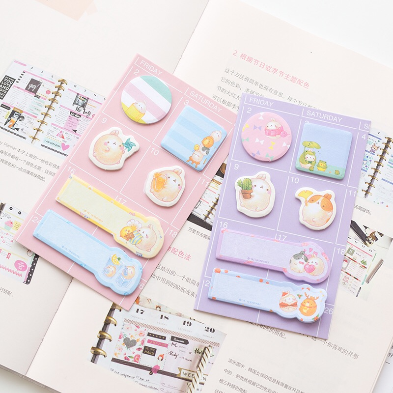 1X Cute Kawaii Molang Rabbit Memo Pads Sticky Notes Planner Sticker School Office Supply Student Paper Stationery