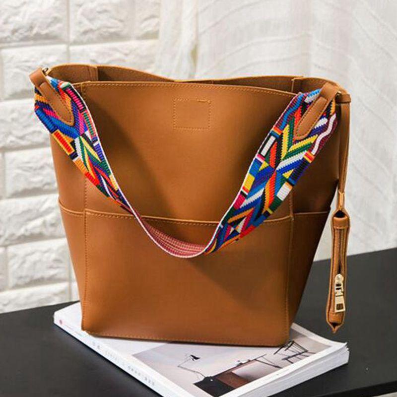 02572c705178 Luxury Brand Designer Bucket bag Women Leather Wide Color Strap ...