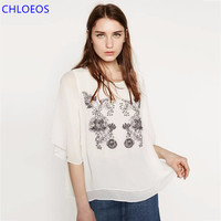 Women Chiffon Blouse Loose Black White Batwing Shirt 2017 Summer Tops Embroidery Floral Pattern Blusas Feminina Plus Size