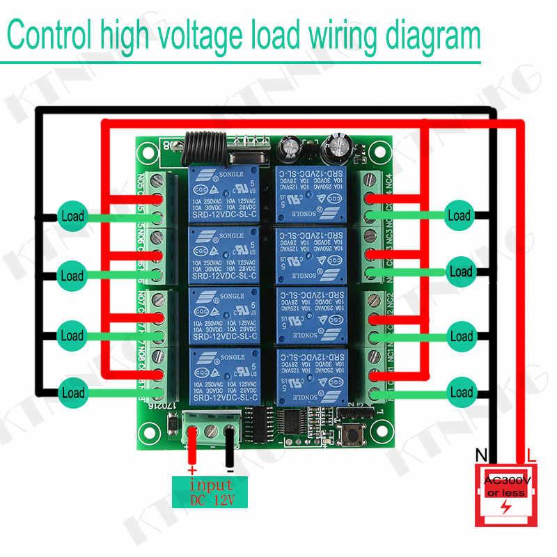 Ktnnkg DC 12V 8CH Từ Xa Không Dây Chuyển Đổi Đầu Thu Module Relay Và 8 Nút 433 Mhz Điều Khiển Từ Xa Cao Cấp sóng RF