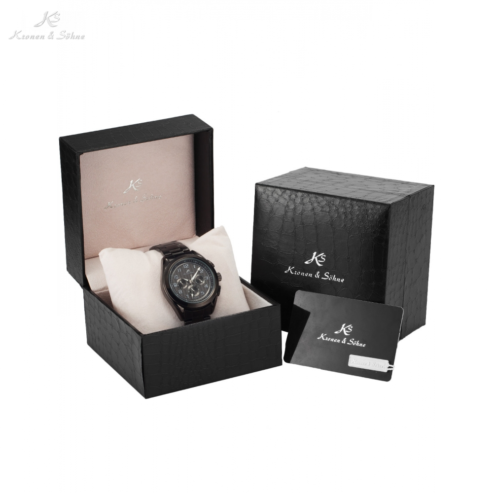 Luxury Gift Box Imperial KS Wristwatch Auto Date Day 24Hrs Display Clock Men Automatic Self Winding Mechanical Watch / KS287-291 luxury gift box ks imperial auto date day male clock leather strap wristwatch automatic mechanical watch men watches ks182 185