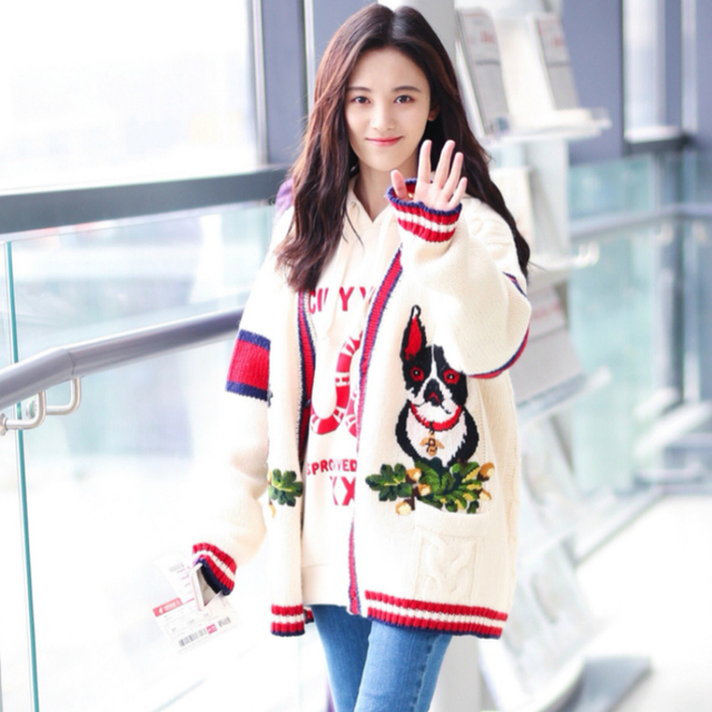 2018 Autumn Winter Cute Cartoon Embroidery Knitted Sweater Women Long  Sleeve Zip-up Knit Coat Harajuku Fashion Knit Sweater Coat 6fee359b9
