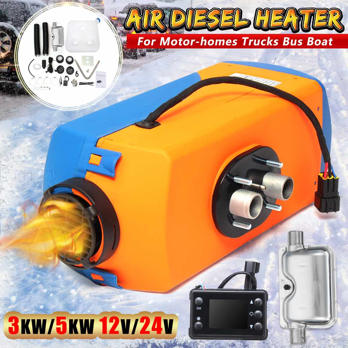 Autoleader Car Air Parking Diesel Heater 12V/24V 3W/5W Car Heater With 10L Diesels Tanks Rotary Switch For Motor Trucks Bus Boat