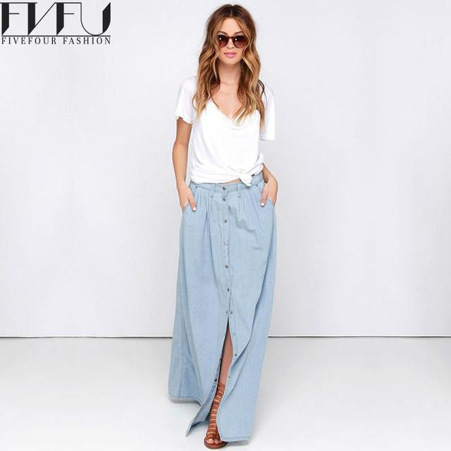 0ede87c783fd5 New Fashion 2018 Spring Skirt Women Single-breasted Denim Maxi Skirt Casual  Summer Style High