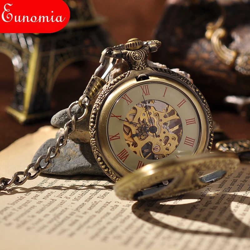 Paris Tháp Khắc Người Đàn Ông Vintage Pocket Watch New Arrival Fashion Skeleton Đồng Hồ Steampunk Đồng Hồ Bỏ Túi Cơ Sách Quà Tặng