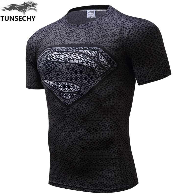 TUNSECHY Merk mode Compressie T-shirt Mannen Anime Superhero Punisher Schedel Batman Superman 3D T-shirt Groothandel en retail