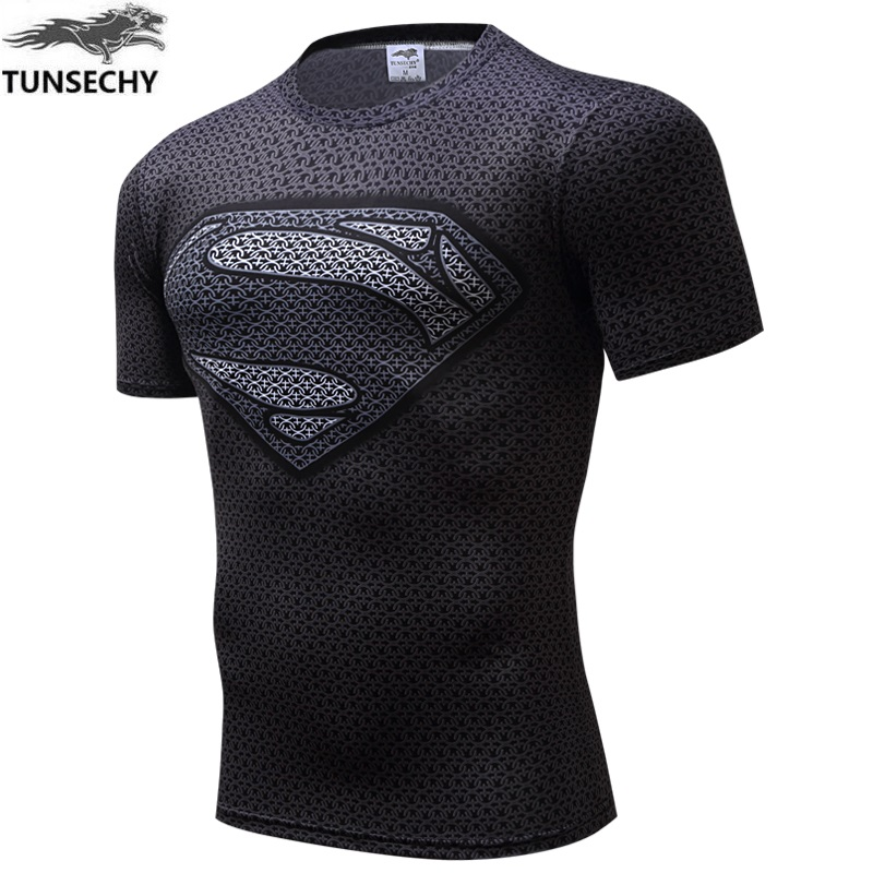TUNSECHY Brand fashion Compression T-shirt Men Anime Superhero Punisher Skull Batman Superman 3D T-shirt Wholesale and retail