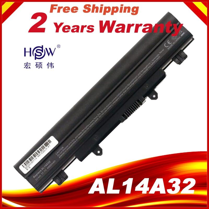 HSW 5200mAh Laptop Battery AL14A32 For Acer Aspire E14 E15 E5 E5-531 E5-551 For 2510G EX2510 SERIES