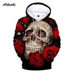 Aikooki Cool Skull 3D Hoodies Men Women 2019 Fashion Print Sweatshirt 3D Hoodie Men Funny Casual Sweatshirt Skull 3D Hoodies XXS 2