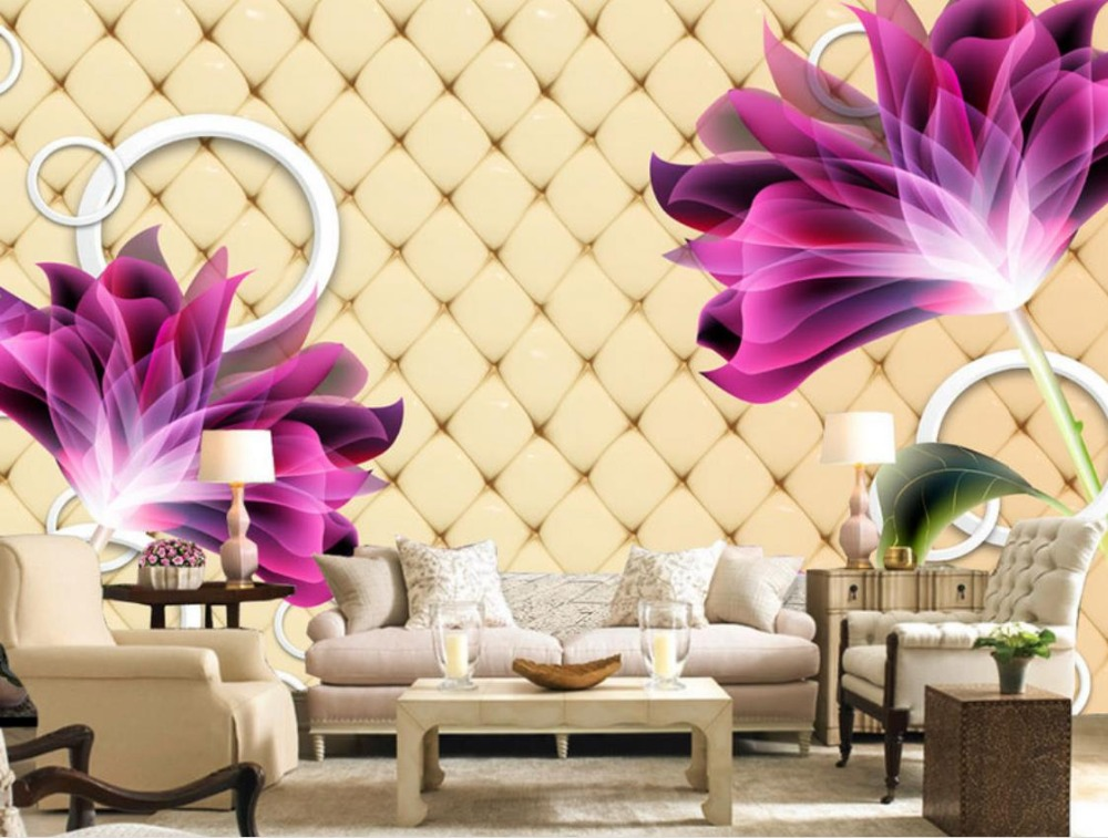 papel de parede adesivo 3d Wallpaper Walls Purple 3d Photo Mural flowers Living Room Wallpaper Background Decoration Painting 3d mural papel de parede purple romantic flower mural restaurant living room study sofa tv wall bedroom 3d purple wallpaper