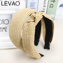 LEVAO Korean Style Solid Knotted Handmade Straw Headband Turban for Women Girls Hoop Bezel Hairbands Hair Accessories Headwear