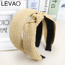 LEVAO Korean Style Solid Knotted Handmade Straw Headband Turban for Women Girls Hoop Bezel Hairbands Hair Accessories Headwear(China)