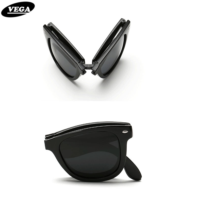 vega polarized folding sunglasses men women foldable sunglasses female male hipster folding glasses plastic frame 140