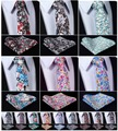 "Floral 3.4"" 100%Cotton Wedding Jacquard Woven Men Tie Necktie Pocket Square Handkerchief Set Suit  #H2"