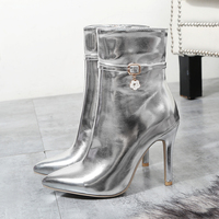 Sexy High Heels Women Boots 2018 Autumn Winter Brand Designer Gold Silver Red Female Ankle Boots High Quality 9cm Size 33 43 44
