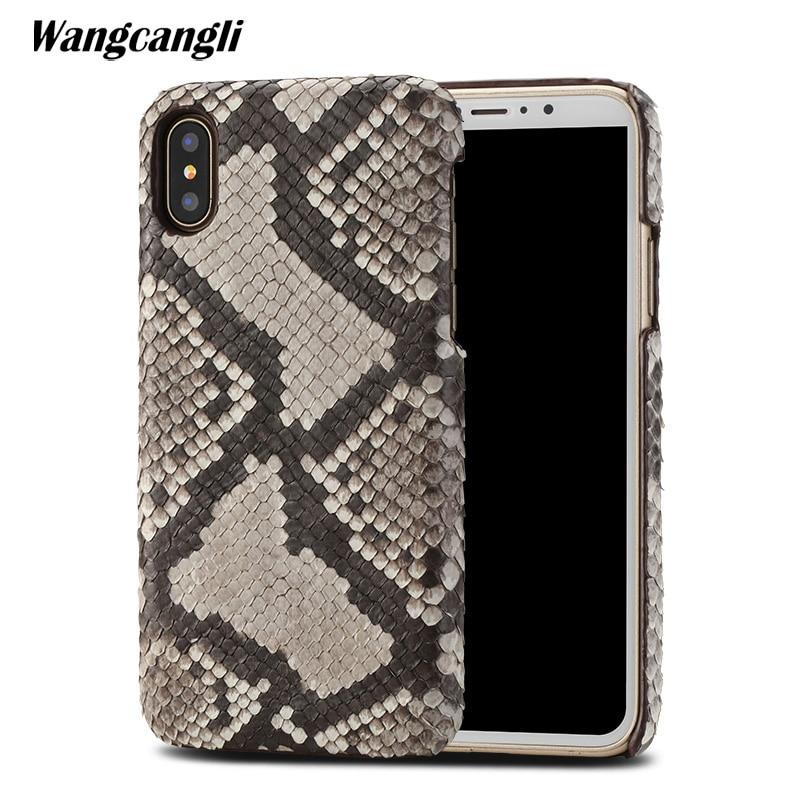 Peau de python étui de téléphone personnalisé haut de gamme pour iPhone x étui en cuir peau de python couverture arrière pour iPhone 6 s 7 8 plus étui