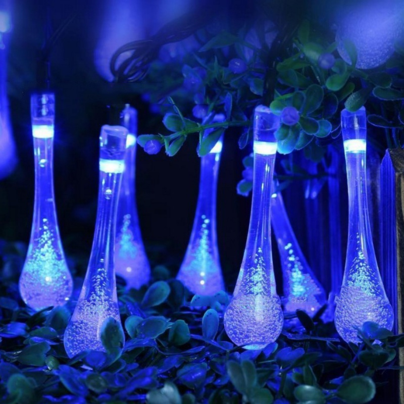 50Leds Solar Powered Water Drop String Lights LED Wateproof Fairy String Lights For Outdoor Garden Wedding Decoration