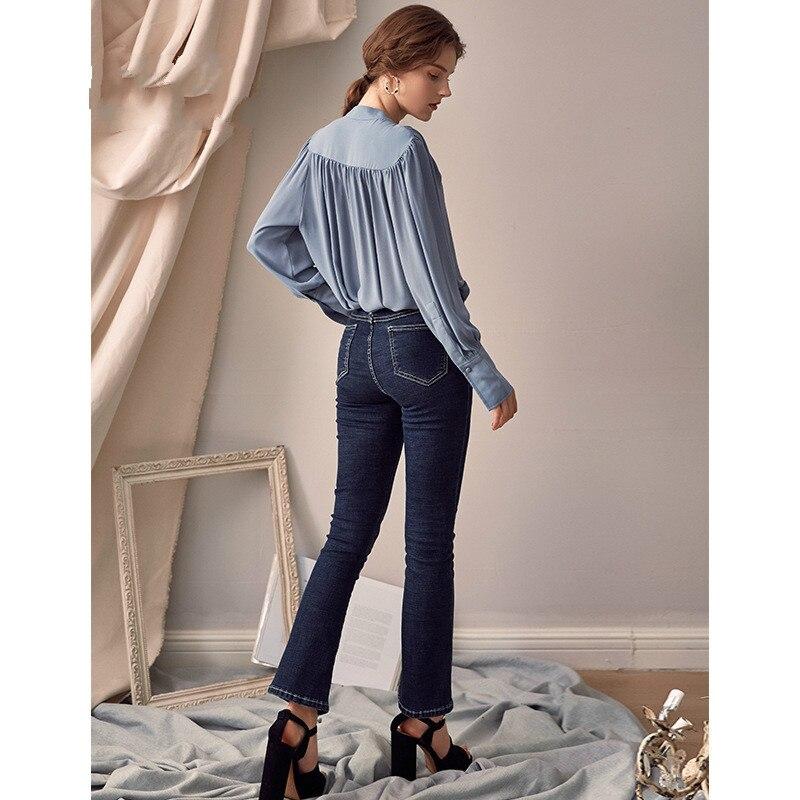 Manches longues chemises Blouse femmes col montant hauts femme élégant décontracté lâche hauts et chemisiers mode vêtements 2019 printemps Blusa - 2
