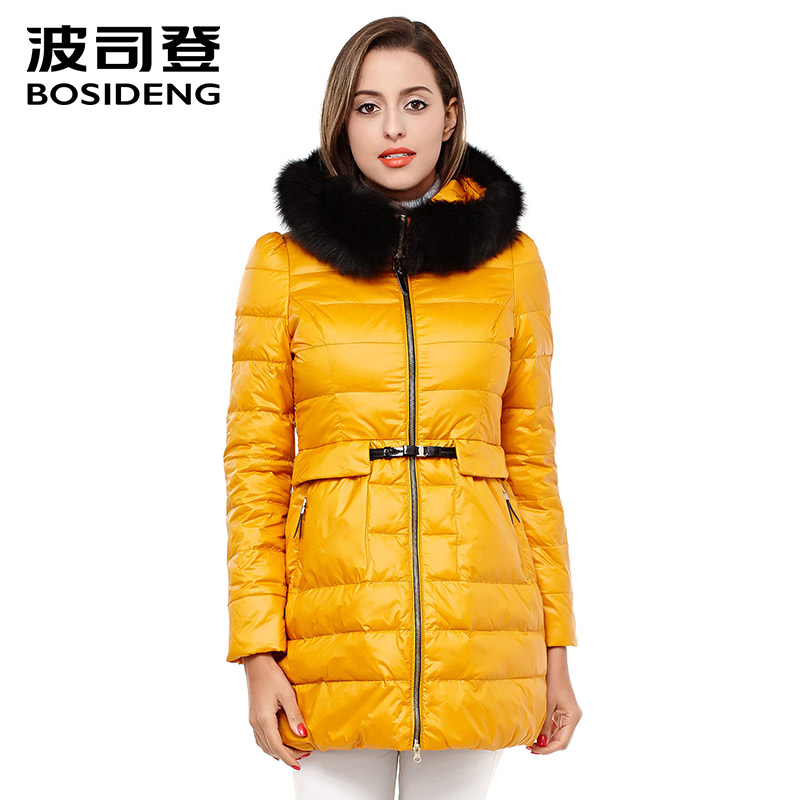 BOSIDENG all-match fashion luxury thicken Warm Winter duck Down Jacket women fox Fur Collar Hooded Coat long down coat B1301238 2015 new hot winter thicken warm woman down jacket coat parkas outerwear hooded splice mid long plus size 3xxxl luxury cold