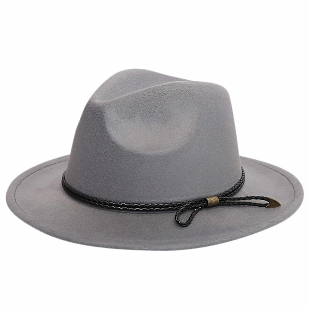 Vintage Hats For Women Crushable Wool Felt Outback Hat Panama Hat Wide Brim with Belt Chapeau Femme Mariage #BL5