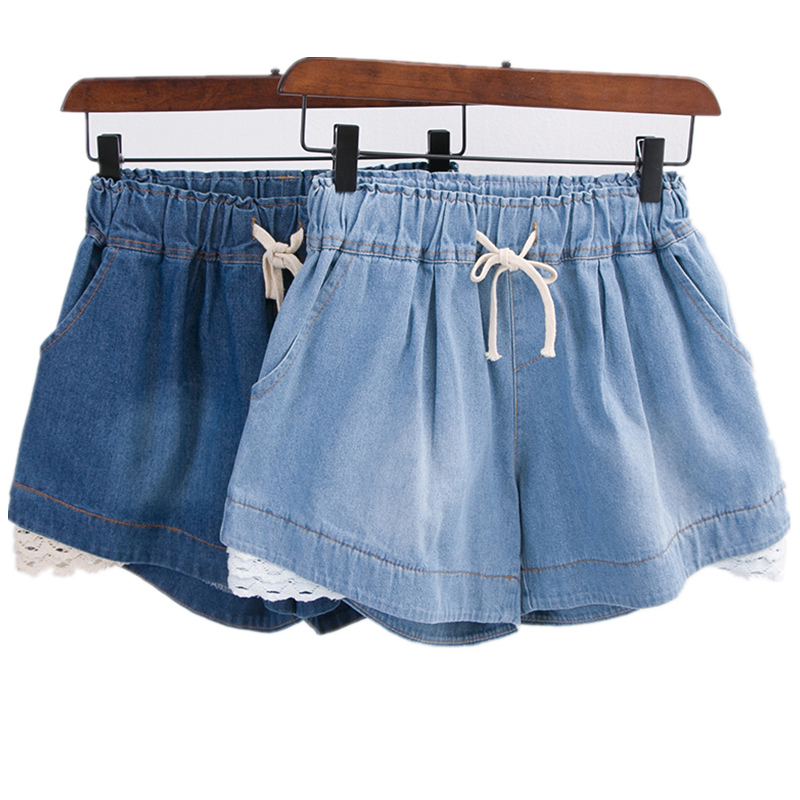 Plus size 4XL 5XL women denim   shorts   2018 summer new patchwork lace sexy loose   short   jeans female party clothing top quality
