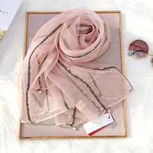 Brand 2020 Luxury Solid Gold Silver Silk Scarf For Women Shawls High Quality Pas