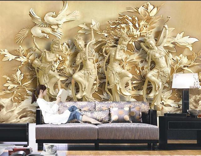 Custom 3d photo wall paper 3D stylish mural HD Woodcarving flowers ...