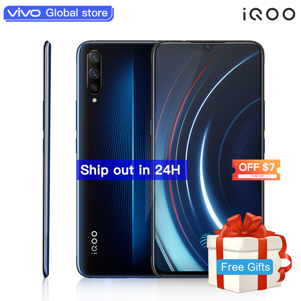 Téléphone portable autorisé vivo celulaire iQOO Android 9 Snapdragon 855 NFC type-c 4000 mAh 44 W Charge rapide Cool 4D jeu téléphone portable