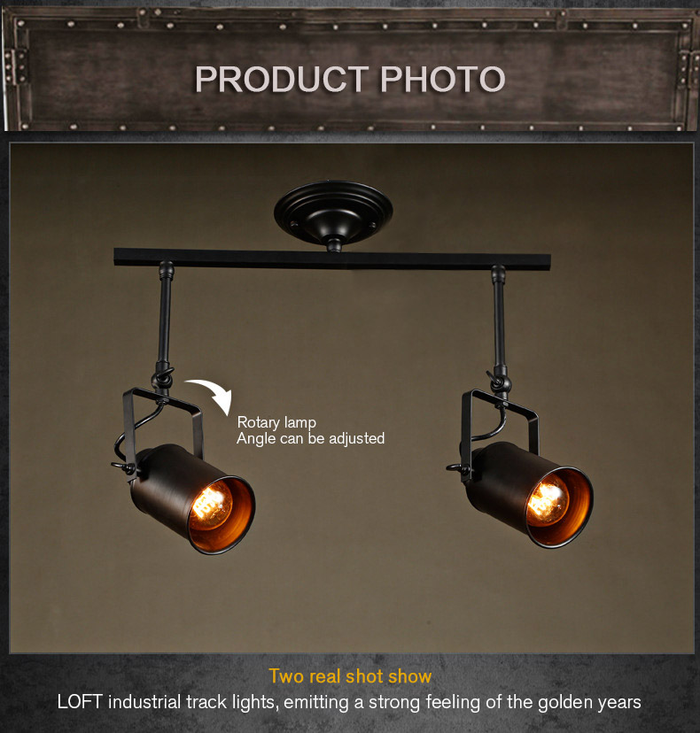 loft bar wall probe industrial pendant light black track lights spotlights clothes store <font><b>ceiling</b></font> lamp 1/2/3 Heads