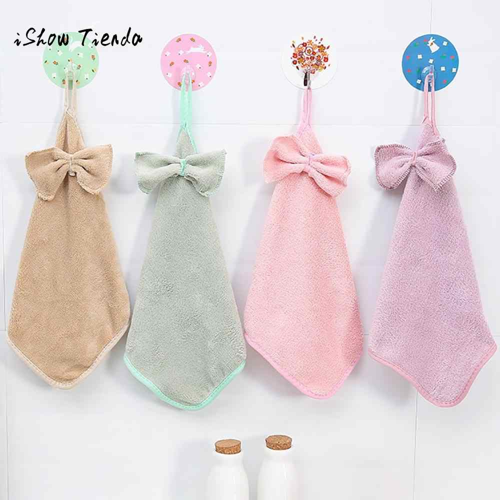 New Butterfly Knot Cartoon Thickened Hand Towel Kitchen Candy Colors comfortable polyester nylon Hanging Water Towel 29x29cm