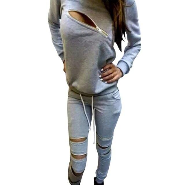 Autumn Women Casual Tracksuit Zip Design Sweatsuit Pullover+ Pants Hoodie Suit Set 2 PCS