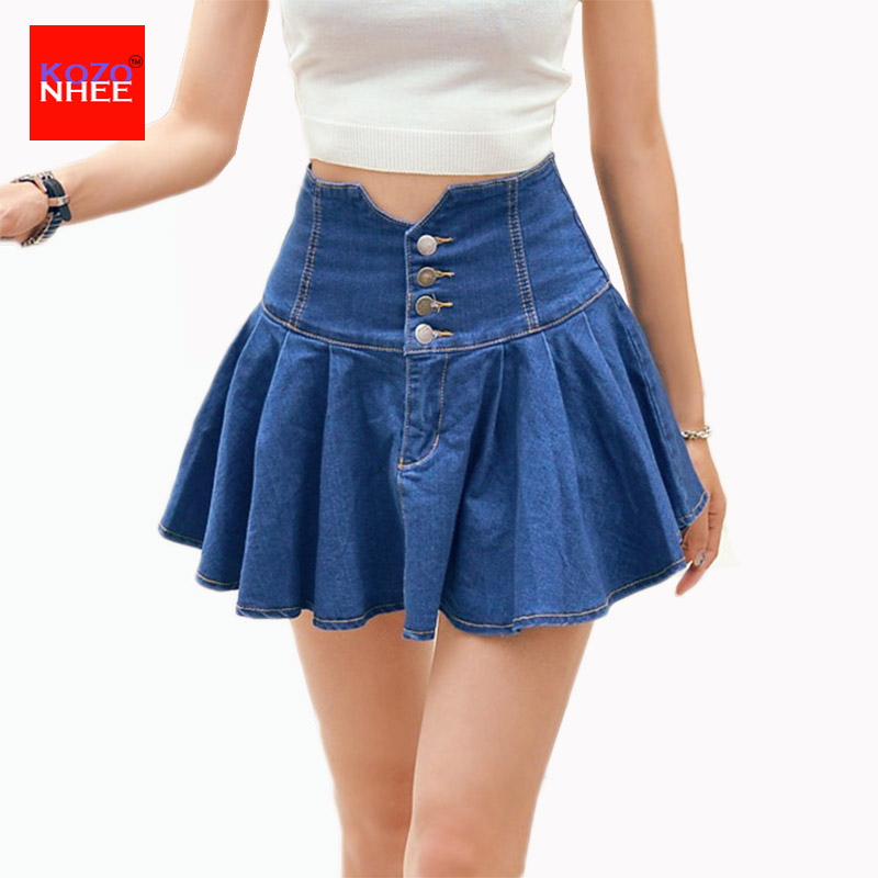 s korean style mini denim skirt high