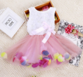 Fiesta de la niña vestidos, nuevo 2016, verano niños vestidos para niñas, de los niños del bowknot flower princess tutu vestido, Baby girl clothes