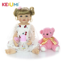 KEIUMI Lovely 22' 55 cm Reborn Baby Girl Full Silicone Body Reborn Doll Lifelike Kids Playmate Baby Toys For Girl Christmas Gift