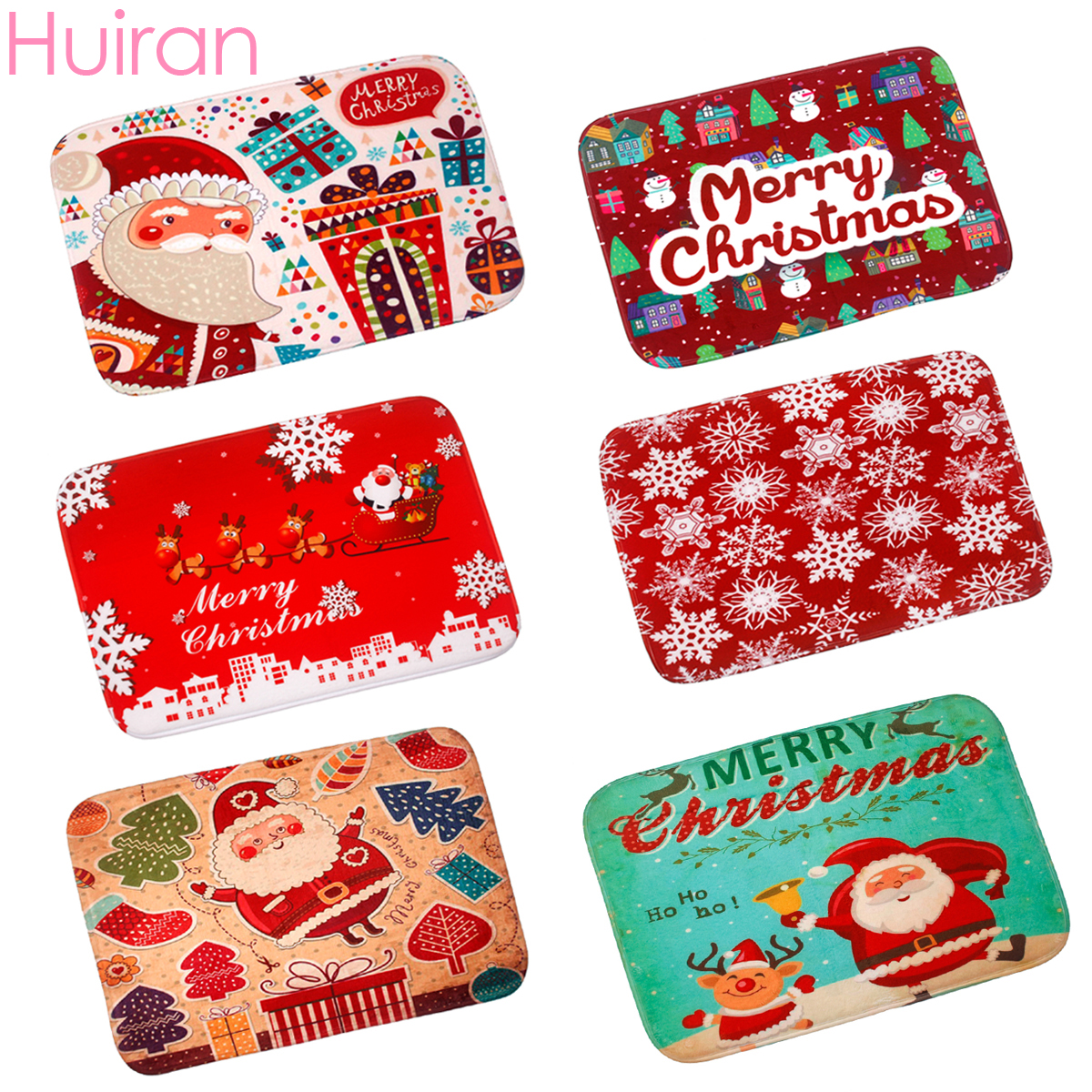 huiran santa claus red carpet christmas decoration for home bathroom door living room decor merry christmas accessories supplies