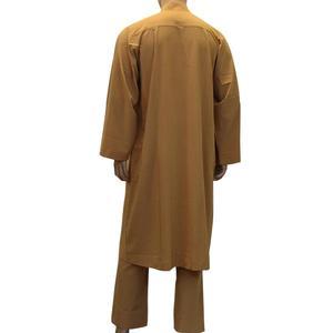 Image 5 - 2PCS Islamic Saudi Mens Abaya Muslim Clothing Arabic Robe+Pant Dubai Thobe Kaftan Dress Dishdasha Thoub Jubba Stand Collar Suit