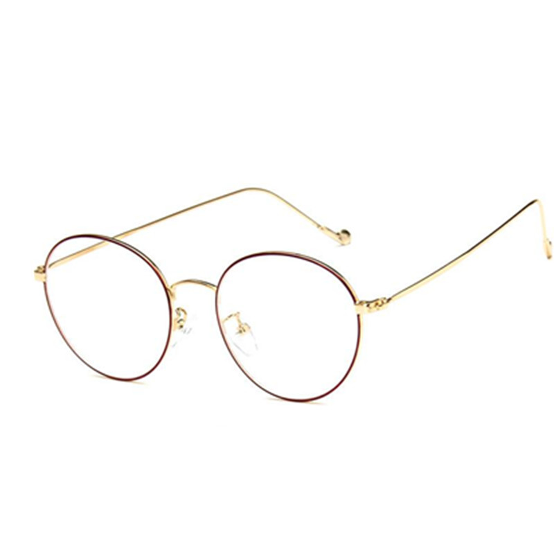 04cafef46f200 fashion small round nerd glasses clear lens unisex gold round metal frame  glasses frame optical men women black uv oculos
