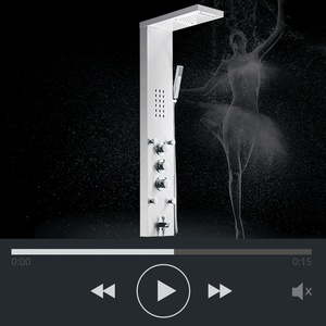 Image 2 - FLG 304SUS Waterfall Rain Shower Faucets Nickel Brushed,Thermostatic Shower Panel With Hand Shower Tub Spout Tower Shower Column
