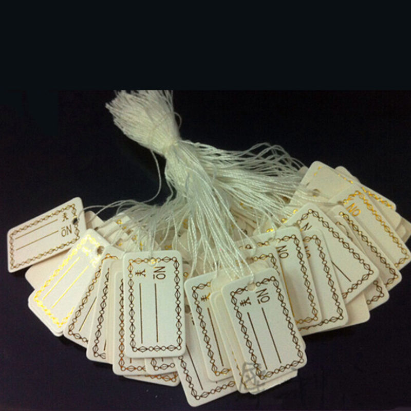 N2HAO 100Pcs Kraft Paper Tags Label Luggage Wedding Note +String DIY Blank price Hang tag Kraft Gift Silver Gold Colors