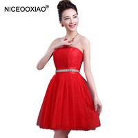 Cheap Price High Quality Bridesmaid Dresses 2016 Elegant Padded Short Mini Strapless Dress Ball Formal Party