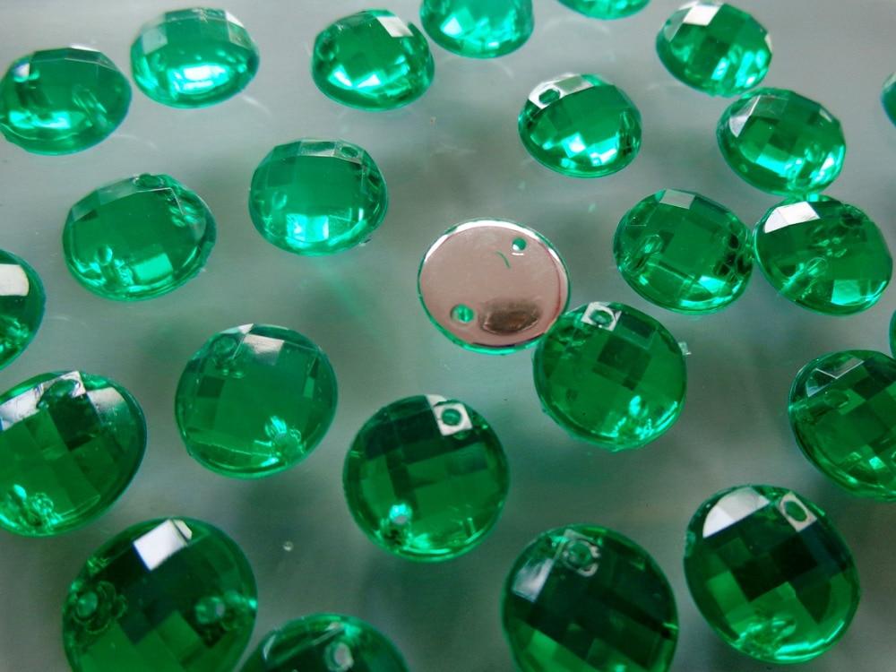 ᗔ400 unids 10mm SEW redonda Sobre rhinestone verde color de ...