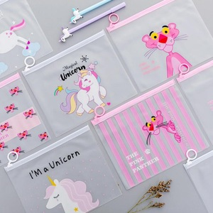 Kawaii Leopard Unicorn Transparent Pencil Case Cosmetic Bag School Office Supplies Document Bag File Folder Stationery Organizer(China)