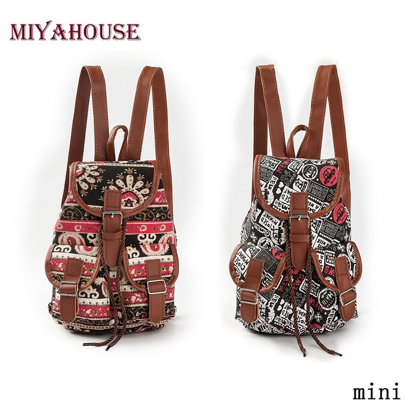 Miyahouse Vintage Children Backpack Girls Small Backpack Women Drawstring Backpacks Canvas Printing Mini Backpack Mochila makorster fashion letter pattern women backpack bag drawstring bagpacks canvas backpacks cheap printing feminine backpack mk232
