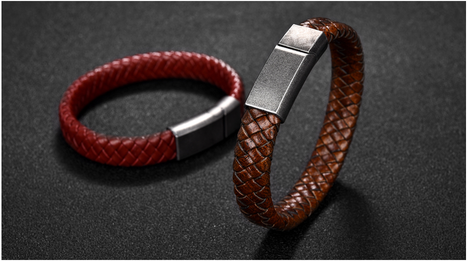 HTB1bnQPX0jvK1RjSspiq6AEqXXa6 - Jiayiqi Punk Men Jewelry Black/Brown Braided Leather Bracelet Stainless Steel Magnetic Clasp Fashion Bangles 18.5/22/20.5cm