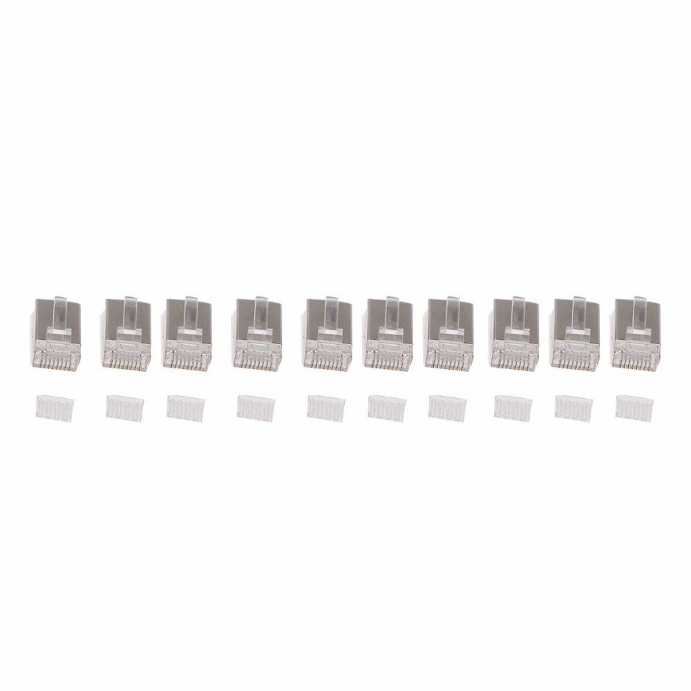 10pcs Rj45 Network Connector Cat6 Modular Plugs Shielded Version Cat 6 Plug With Loading Bar