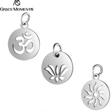 10pcs/Lot 316L Stainless Steel Charms Silver Color Cut Out OM Yoga Lotus Sun Charms Pendants for Jewelry Making DIY Handmade(China)
